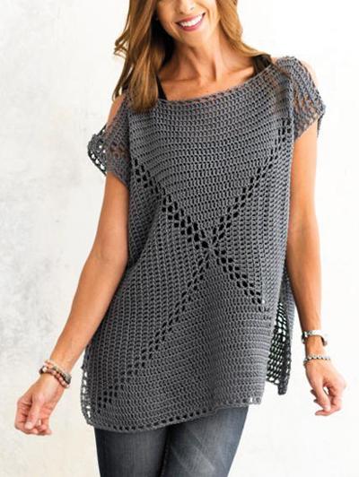 Cold Shoulder Granny Crochet Pattern - Electronic Download