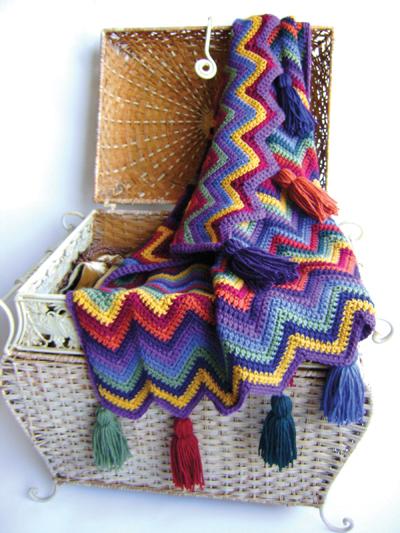 Crochet Rainbow Chevron Ripple Baby Blanket Pattern - Electronic Download