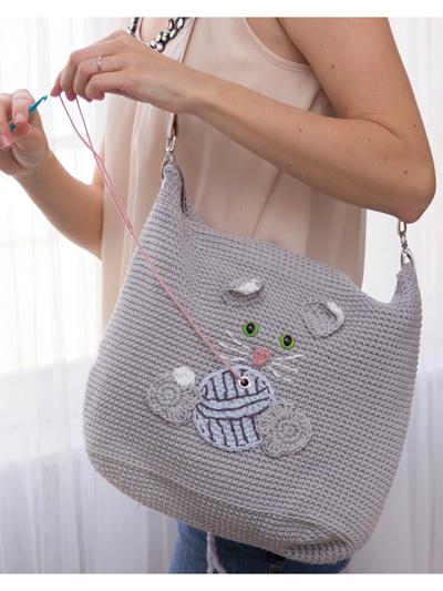 Cat Yarn Project Bag Crochet Pattern - Electronic Download