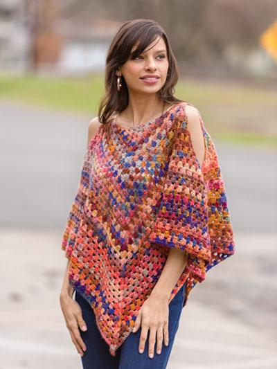 Open Shoulder Granny Poncho Crochet Pattern - Electronic Download