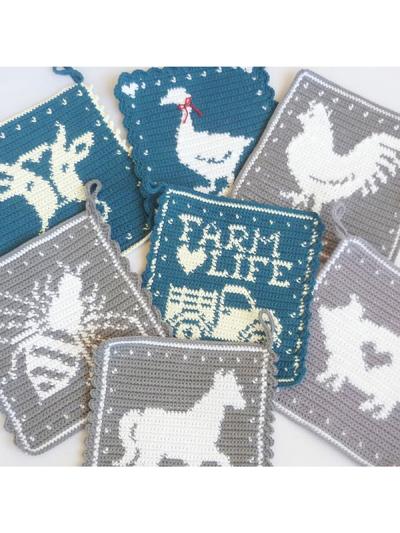 Farmhouse Potholders Crochet Pattern - Electronic Download