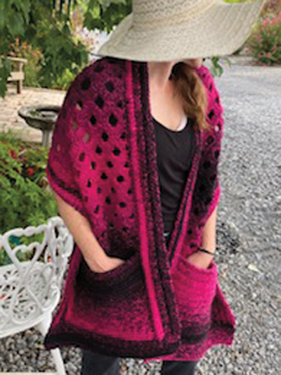 Cascade Pocket Shawl Crochet Pattern - Electronic Download