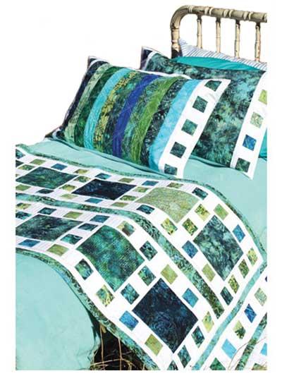 Mosaique de Mer Bed Runner & Pillow Shams Pattern