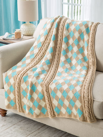 Tunisian Argyle Throw Crochet Pattern