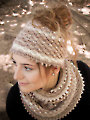ANNIE'S SIGNATURE DESIGNS: Autumn Dust Messy Bun Hat & Cowl Knit Pattern