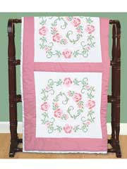 "Circle of Roses Cross Stitch 18"" Quilt Blocks"