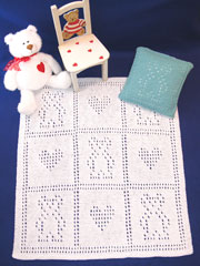 Knitted Teddy Bear Blankie Set