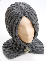 Hooded Neck Wrap in Knit Pattern
