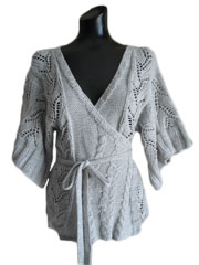 Cables and Lace Kimono Wrap Cardigan Knit Pattern