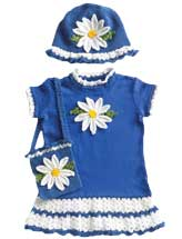 Daisy T-Shirt Dress with Matching Hat & Purse