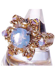 Flower Motif With Glass Cubic Ring