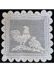Vintage Filet Rooster Crochet Pattern Pack