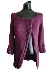 Cables and Flowers Asymmetric Cardigan Knit Pattern