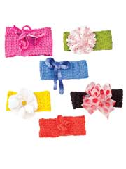Six Knitted Baby Headbands