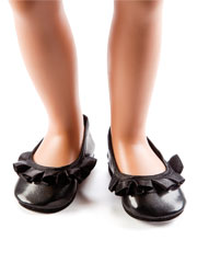 "Black Ruffled Flats 18"" Doll Shoes"
