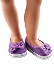 "Purple Canvas Slip-On 18"" Doll Shoes"