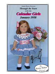 "January 1958 Calendar Girl for 18"" Dolls"