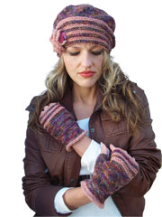 Autumn Spice Hat and Fingerless Mitts Knit Pattern