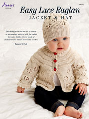Easy Lace Raglan Jacket & Hat Knit Pattern