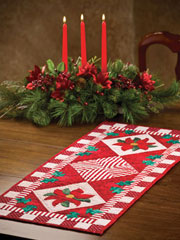 Poinsettia & Holly Table Runner Pattern