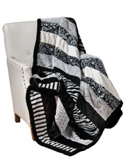 Black & White Zebra Strip Quilt Kit