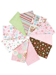 Bear Hugs Girl Fat Quarters - 10/pkg.