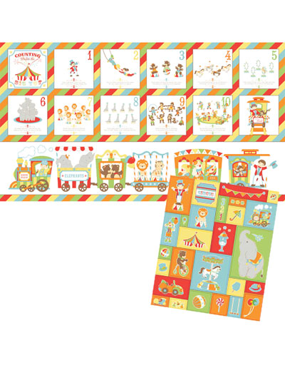 Circus Train Book Panel & Coordinating Fabric