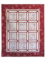 Redwork Farmyard Animals Quilt Pattern