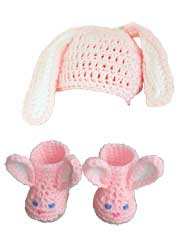 Easter Bunny Hat & Slippers Crochet Pattern Pack