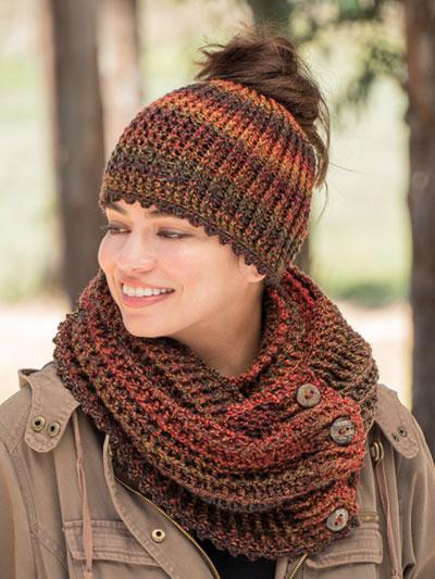 ANNIE S SIGNATURE DESIGNS  Estelita Messy Bun Hat   Cowl Crochet Pattern –   6.00 e8898502efd