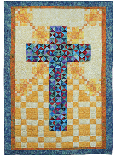 multiple sizes PRINTED Pattern Log Cabin Cross Cross Quilt Pattern Wall hanging quilt